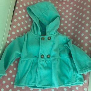 Mint green baby girls pea coat